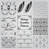 Hand Drawn Floral Seamless Patterns — Stock Vector