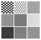 Geometric Monochrome Seamless Background Patterns — Stock Vector