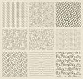 Abstract Hand Drawn Seamless Background Patterns — Stock Vector