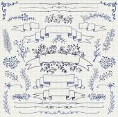 Vector Pen Drawing Floral Design Elements, Ribbons — Stok Vektör