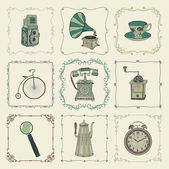 Vector Vintage Colorful Icons, Objects and Frames — Stock vektor
