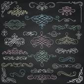 Vector Chalk Drawing Vintage Hand Drawn Swirls Collection — Wektor stockowy