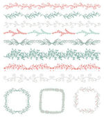 Colorful Hand Sketched Seamless Borders, Frames, Branches — Stock Vector