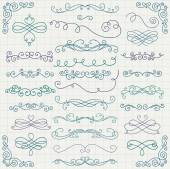 Vector Colorful Vintage Hand Drawn Swirls Collection — Stock Vector