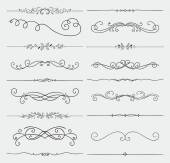 Vector Black Doodle Hand Drawn Swirls Collection — Stock Vector