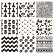 Vector Black Sketched Doodle Halloween Patterns Set — Wektor stockowy  #82363848