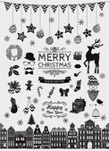 Vector Black Hand Sketched Christmas Doodle Icons. — Stock Vector