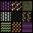 Vector Colorful Sketched Doodle Halloween Patterns Set — Stock Vector #83231018