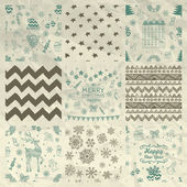 Christmas Seamless Background Set on Crumple Paper — Stock Vector