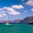 Sailing ship near Santorini coast, Greece — Stock Photo #71082505