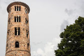Romanesque cylindrical bell tower of countryside church — Stock Photo
