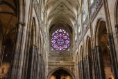 Rosette decal of St. Vitus Cathedral in Prague — Stock Photo