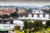 Bridges and rooftops of Prague — Stock Photo