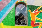 Mosaic window with Station of the Cross in Medugorje — Stock Photo