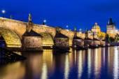 Night view of Charles Bridge and Vltava — Stock Photo