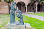 Saint Francis and the wolf — Foto de Stock