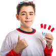 Boy wears 3D glasses and makes success sign showing four ones — Stock Photo #66078691