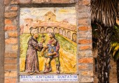 Fresco dedicated to Catholic Blessed on the walls of a church — Stock Photo