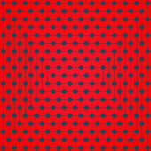 Halftone of gray dots lines which intersect on a bright red background — Stock Vector