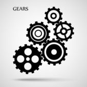 Black toothed gears ( cogs ) is meshed on gray background — Stock Vector