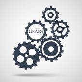 Gray toothed gears (cogs) is meshed on gray background — Stock Vector