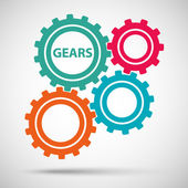 Multicolored toothed gears (cogs) is meshed on gray background — Stock Vector