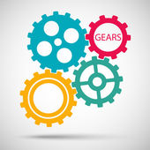 Color toothed gears (cogs) is meshed on gray background — Stock Vector