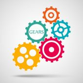 Colored toothed gears (cogs) is meshed on gray background — Stock Vector