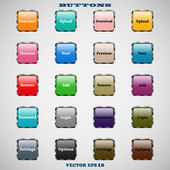 Set of glass square colorful web buttons with glossy reflections for website or app on a gray background — Stock Vector