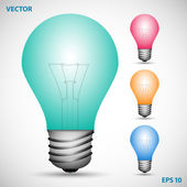 Set of colored incandescent lamps on the gray background — Vetor de Stock