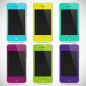 Set of realistic detailed colored smartphones with touch screen isolated on a gray background — Stock Vector