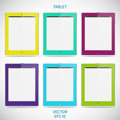 Set of realistic detailed colored tablets with touch screen isolated on a gray background — Stockvector