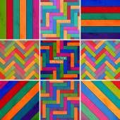 Set colorful wooden texture background of parquet — Stock Vector