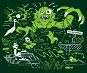 Search for the Swamp Monster — Stock Vector