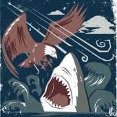 Eagle vs Shark — Vector de stock
