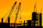 Silhouette of construction site — Stock Photo