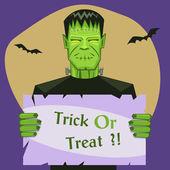 Frankenstein Holding Banner — Stock Vector