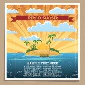 Retro Sunset Poster — Stock Vector