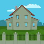 House With Fence — Stock Vector