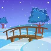 Winter landscape with bridge — Stock Vector