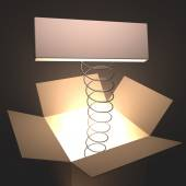 Open box with light inside — Stock Photo