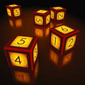 Dice with countdown of cinema industry — Stock Photo
