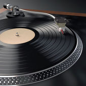 Turntable playing vinyl — Stock Photo