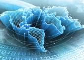 World Map interconnected by information — Stock Photo