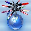 Planet earth with arrows — Stock Photo #63185819