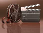 Roll of film with a clapboard beside — Fotografia Stock