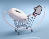 Mouse in the shopping cart. — Stock Photo