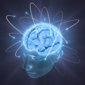 Head illuminated by the energy of the brain — Stock Photo