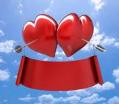Two hearts together with two arrows — Stock Photo
