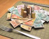 Brazilian money on the plate. — Stock Photo